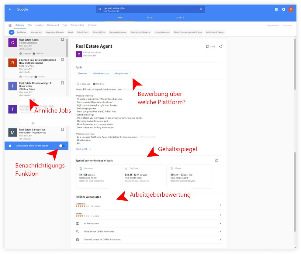 Google for Jobs Stellenanzeige - Landing Page
